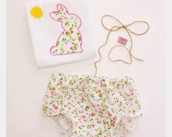 Bunny embroidered onesie / diaper cover  for girls / toddlers.