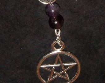 Pentacle and Amethyst Shepherd's Hook Bookmark