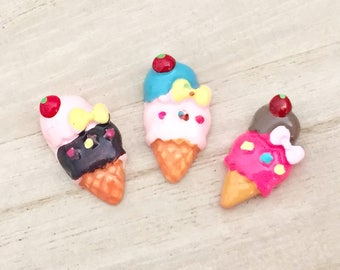 Ice Cream Cabochons - Ribbon Double Scoop (6 pcs) Kawaii Cabochons Resin Flat Back Cell Phone Deco