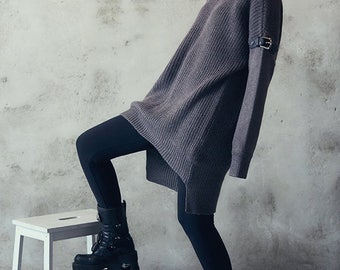 Gray oversized sweater - gray loose sweater - gray knit sweater - gothic - dark oversized pullover - chunky knit pullover - grunge sweater