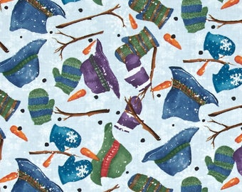 Light Blue, Navy, Green and White Christmas Quilting Fabric By the Yard - Creature Comforts: Snowman Accessories Toss by Clothworks
