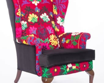 Hand Embroidered Suzani Parker Knoll Armchair sofa chair design patchwork