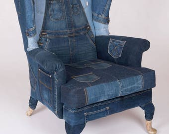 Jeans Denim Accent Wing back Armchair sofa chair patchwork