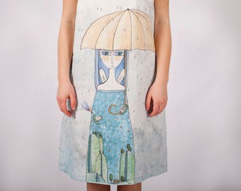 Woman's summer dress - Linen dress - Japanese minimalism - Holiday dress  - Loose dress - Hand painted - Rainy day - Woman's clothing