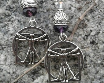 Davinci's Vitruvian Man Earrrings with 925 Sterling silver hooks
