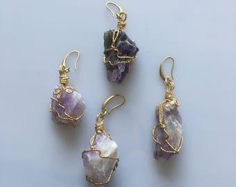 natural quartz 07 brass earrings