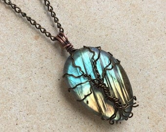 Enchanted Tree of Life Labradorite Stone Pendant