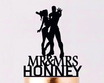 Iron Man and Harley Quinn Cake Topper, Superhero Wedding Cake Topper, Superhero Silhouette, Cake Topper, Cake Topper With Last Name