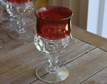 Set of Four (4) Kings Crown Thumbprint Tiffin Franciscan Ruby Wine Glasses