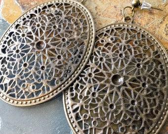 Stud Bronze Oval Dangle Earring