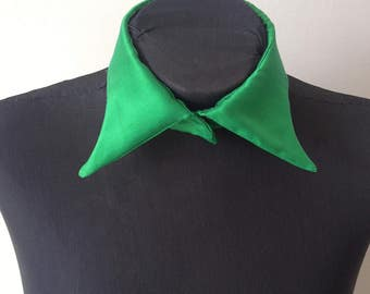 Loose Collar, Green silk satin