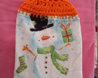 Snowman Kitchen towel with crocheted top