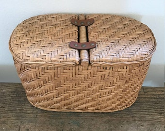 Vintage Rattan (Wicker) Two-lid Basket