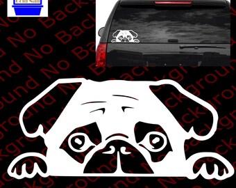 PEEKING PUG Puppy Doggy Dog Die Cut No Background Vinyl Decal/Sticker for Car Window/Phone/Laptop AM011