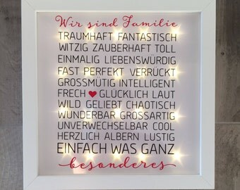 """illuminated picture frame with saying """"Family"""", LED frame, wall decoration"""