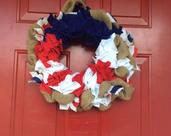 Red White and Blue Patriotic American Wreath