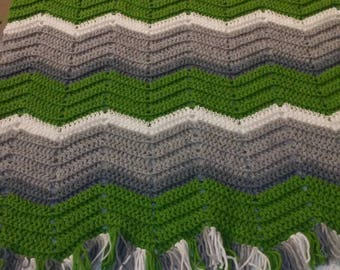 Fern and grey chevron
