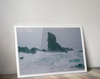 Storm Ocean Photography, Iceland Home Decor, Nature Wall Art, Fine Art Print, Beach Picture, Landscape, Snæfellsnes, Djúpalónssandur Dritvík