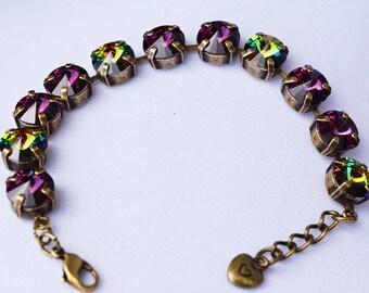 10mm Swarovski Crystal Bracelet - Amethyst and Vitrail Medium