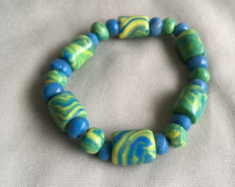 Bright Blue, Green & Yellow Stretch Bracelet