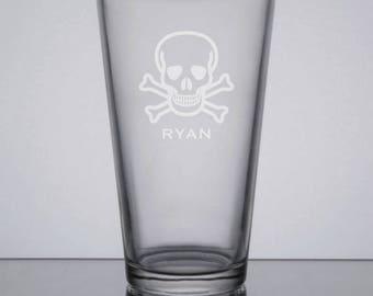 Etched Pint Glass, Skull & Crossbones Glass, Groomsmen Gift, Beer Glass, Custom Groomsman Gift, Engraved Pint, Sandblasted Beer Glass
