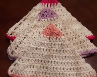Crochet Washcloths, Spa Cloths, Cotton, Crocheted Dishcloths, Everyday Decor, Gifts Under 20.00