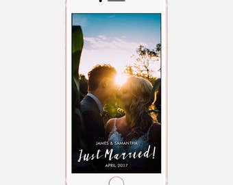 Just Married Snapchat Wedding Geofilter Download, Geofilter Wedding Snapchat, On Demand Snapchat Geofilter, On Demand Geo Filters, Custom