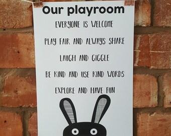 Our Playroom A4 print, custom options available!