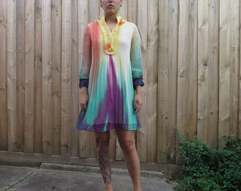Rainbow gradient floaty long sleeved dress