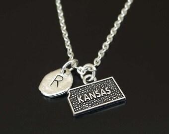 Kansas Necklace, Kansas Charm, Kansas Pendant, Kansas Jewelry, Kansas State Necklace, Kansas State Jewelry, Kansas Map, Kansas City