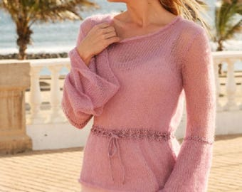 Loose sweater knitted sweater pink sweater large sleeves mohair silk sweater lightweight sweater blue black purple pullover jumper COLORS