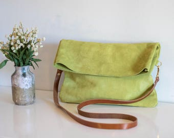 Folded suede bag