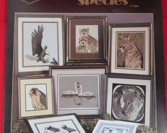 Vintage Cross Stitch Pattern Book, Endangered Species Patterns, 1980s Stitchery Book