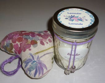 Candles,  Soy Wax , scented, lavender,  quilted glass ,mason jar, container candle