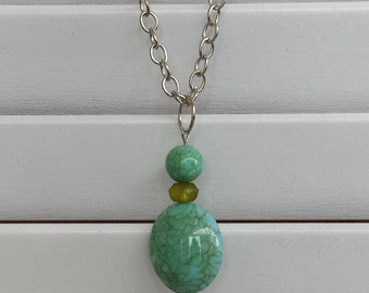 Teal & Green beaded Necklace or necklace earring set