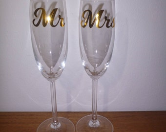 Mr and Mrs Wine Glass Vinyl Decals
