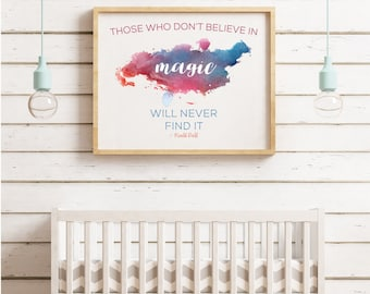 Believe in magic poster | Inspiring quotes for kids | Roald Dahl | Printable