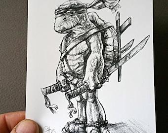 Leonardo - print b & w sketch ninja turtle