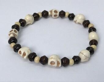 White Howlite Stone Skull Bracelet