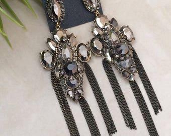 Chandelier earrings, Black earrings, Black Crystal Rhinestones, Prom earrings,Gift for Women
