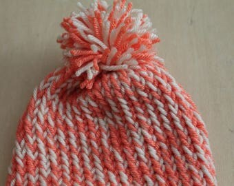 Coral and off-white preemie/newborn knit cap with pompom