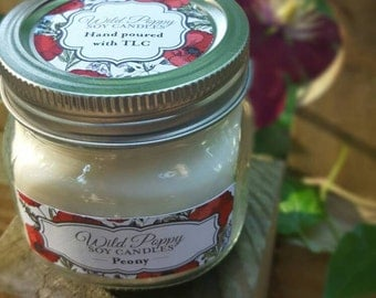Hand-poured 100% Soy candle/peony/gift/for her/housewarming/Mother/daughter/home decor/garden/floral/fragrant/mason jar