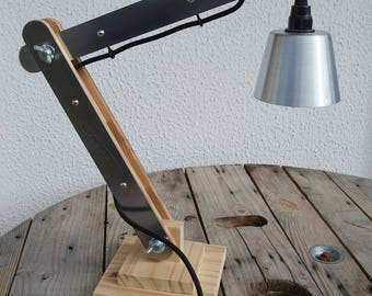 Hinged wood and metal 50cm architect lamp
