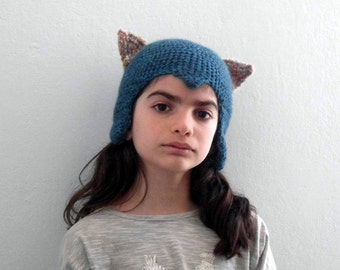 teal blue , cat hat, ear hat, gift for kids, knit hat