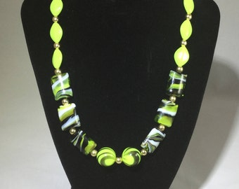 Fun Green Necklace with matching Earrings