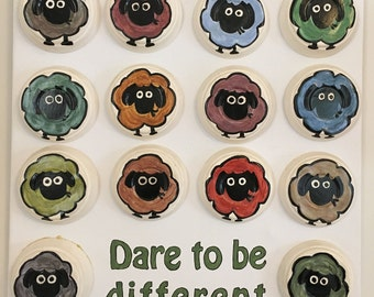 Wall decorated hanging, painted  plaster cast on canvas,  dare to be different sheep