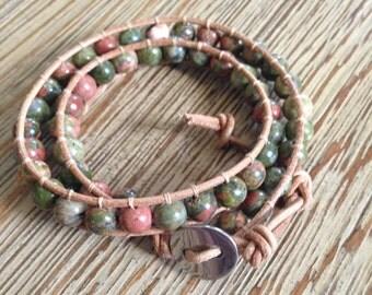 Unakite leather double wrap bracelet, leather wrap, beaded bracelet, wrap bracelet, double wrap bracelet