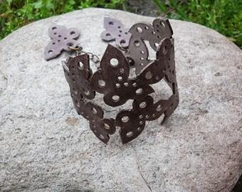 Boutique leather bracelet, unique butterfly bracelet, brown summer bracelet, cuff bracelet design