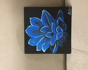 Acrylic Hand Painted Flower on a Wooden Plank