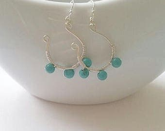 Turquoise Wire Wrapped Hoop Earrings
